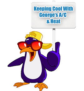 Image of penguin with sunglasses holding sign.
