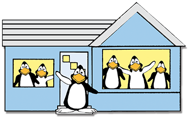 Image of penguins in house